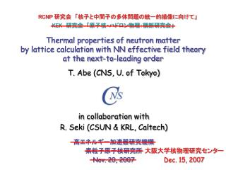 高エネルギー加速器研究機構 素粒子原子核研究所 Nov. 20, 2007