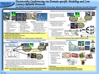 Trustworthy Conferencing via Domain-specific Modeling and Low Latency Reliable Protocols