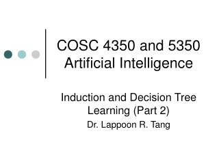 COSC 4350 and 5350