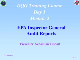 EPA Inspector General  Audit Reports