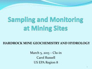 Sampling and Monitoring  at Mining Sites