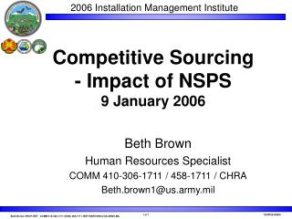 Competitive Sourcing - Impact of NSPS  9 January 2006