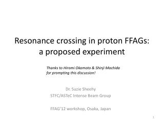 Resonance crossing in proton FFAGs: a proposed experiment