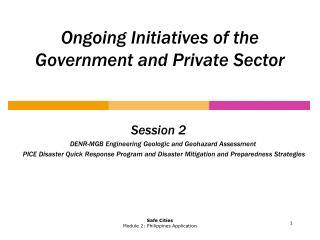 Ongoing Initiatives of the Government and Private Sector