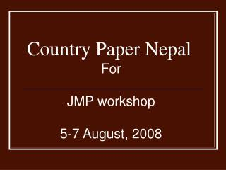 Country Paper Nepal