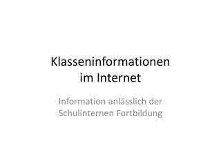 Klasseninformationen im Internet