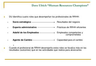 "Dave Ulrich ""Human Resources Champions"""