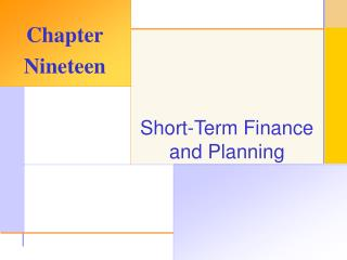 Short-Term Finance and Planning