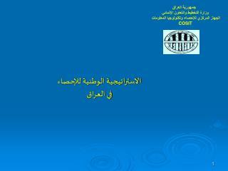 جمهورية العراق وزارة التخطيط والتعاون الإنمائي الجهاز المركزي للإحصاء وتكنولوجيا المعلومات COSIT