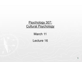 Psychology 307:  Cultural Psychology March 11 Lecture 16