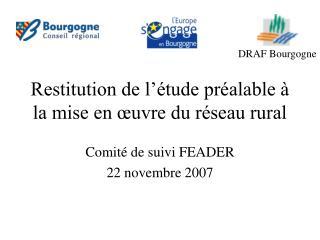 Restitution de l'étude préalable à la mise en œuvre du réseau rural