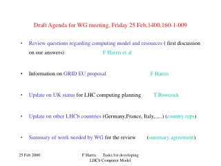 Draft Agenda for WG meeting, Friday 25 Feb,1400,160-1-009