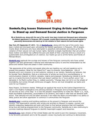 Sankofa.Org Issues Statement Urging Artists and People to St