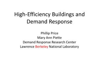 High-Efficiency Buildings and Demand Response