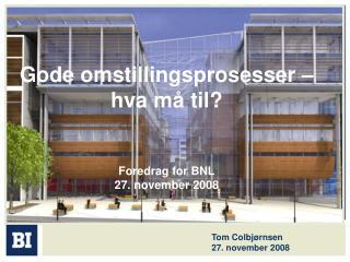 Gode omstillingsprosesser – hva må til? Foredrag for BNL  27. november 2008