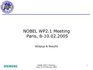 NOBEL WP2.1 Meeting    Paris, 8-10.02.2005