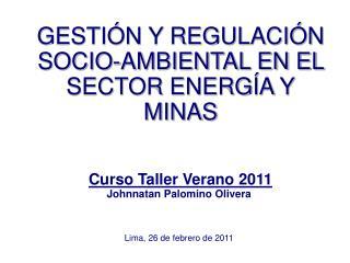 GESTIÓN Y REGULACIÓN SOCIO-AMBIENTAL EN EL SECTOR ENERGÍA Y MINAS Curso Taller Verano 2011