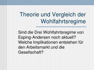Theorie und Vergleich der Wohlfahrtsregime