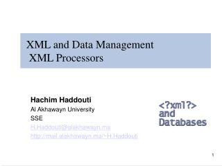 XML and Data Management   XML Processors
