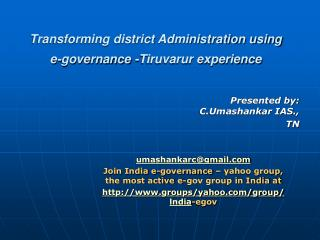 Transforming district Administration using e-governance -Tiruvarur experience