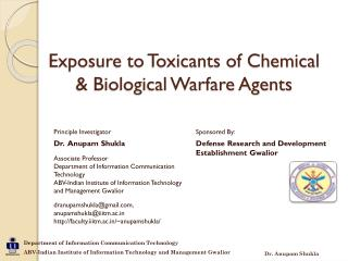Exposure to Toxicants of Chemical & Biological Warfare Agents