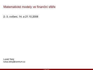 Matematické modely ve finanční sféře