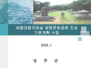세종대왕자태실 생명문화공원 조성  기본계획 수립