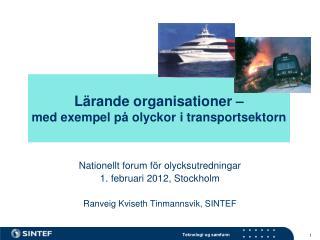 Lärande organisationer –  med exempel på olyckor i transportsektorn