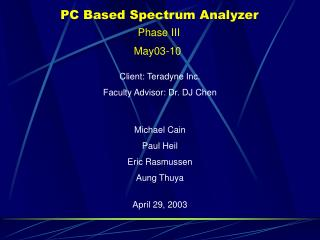PC Based Spectrum Analyzer