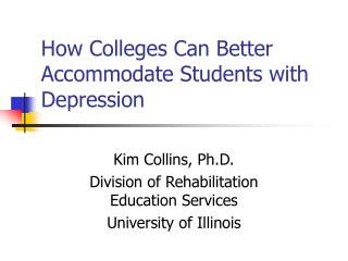 How Colleges Can Better Accommodate Students with Depression