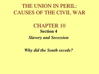 THE UNION IN PERIL: CAUSES OF THE CIVIL WAR CHAPTER 10