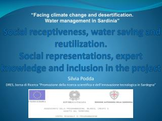 """Facing climate change and desertification. Water management in  Sardinia"""