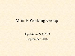 M & E Working Group