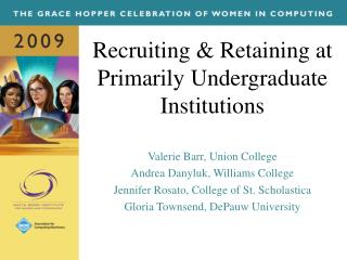 Recruiting & Retaining at Primarily Undergraduate Institutions