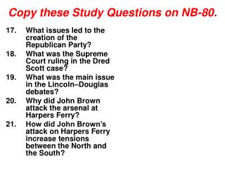 Copy these Study Questions on NB-80.
