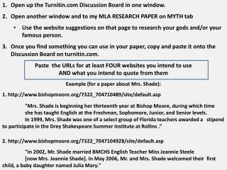 Open up the Turnitin Discussion Board in one window.