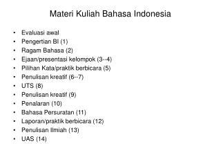 Materi Kuliah Bahasa Indonesia