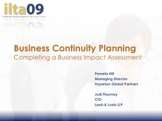 Business Continuity Planning Completing a Business Impact Assessment