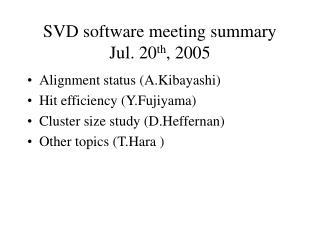 SVD software meeting summary Jul. 20 th , 2005