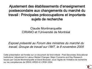 Claude Montmarquette CIRANO  et l' Université de Montréal