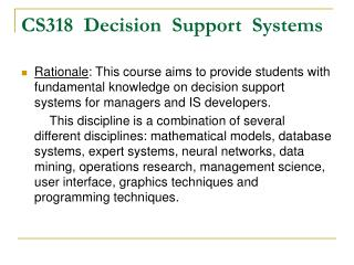 CS318  Decision  Support  Systems