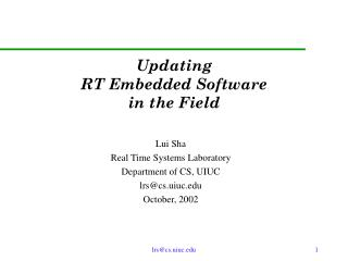 Updating  RT Embedded Software  in the Field