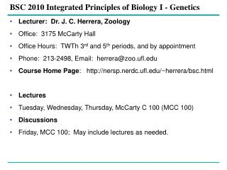 BSC 2010 Integrated Principles of Biology I - Genetics