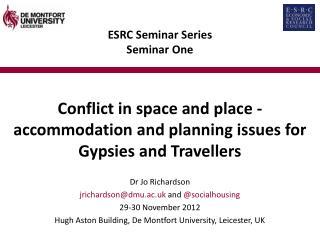 ESRC Seminar Series Seminar One