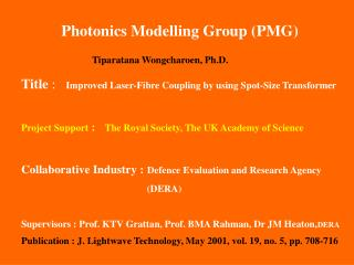 Photonics Modelling Group (PMG)