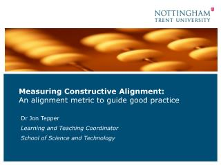 Measuring Constructive Alignment:  An alignment metric to guide good practice