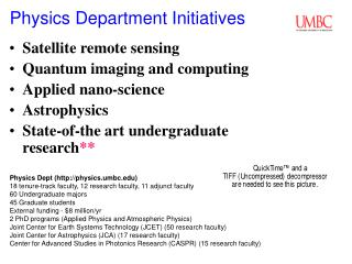 Physics Department Initiatives