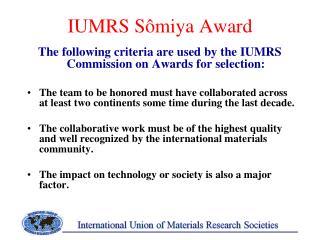 IUMRS Sômiya Award