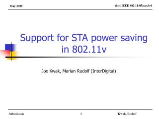 Support for STA power saving in 802.11v
