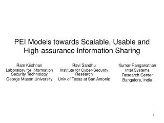 PEI Models towards Scalable, Usable and High-assurance Information Sharing